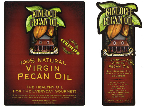 Kinloch pecan oil label