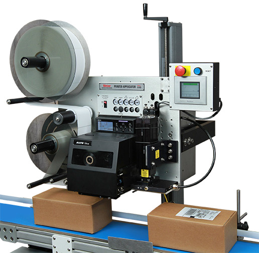 Model 5300 label printer applicator in factory setting