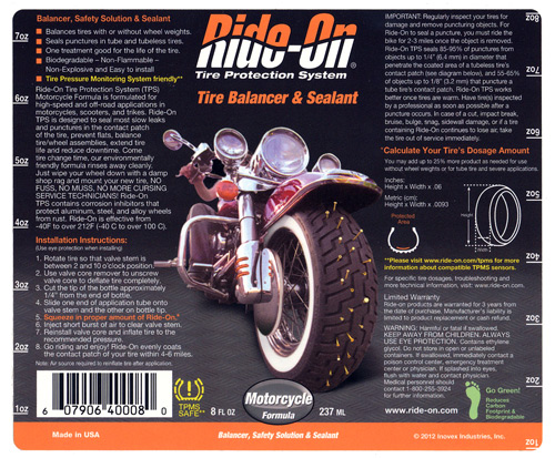 Ride on tire sealant label