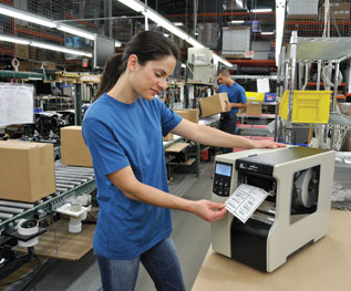 Zebra thermal printer on production line