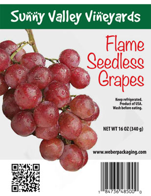 seedless grapes produce label