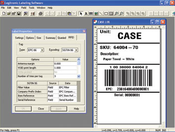 Legitronic labeling software computer screen